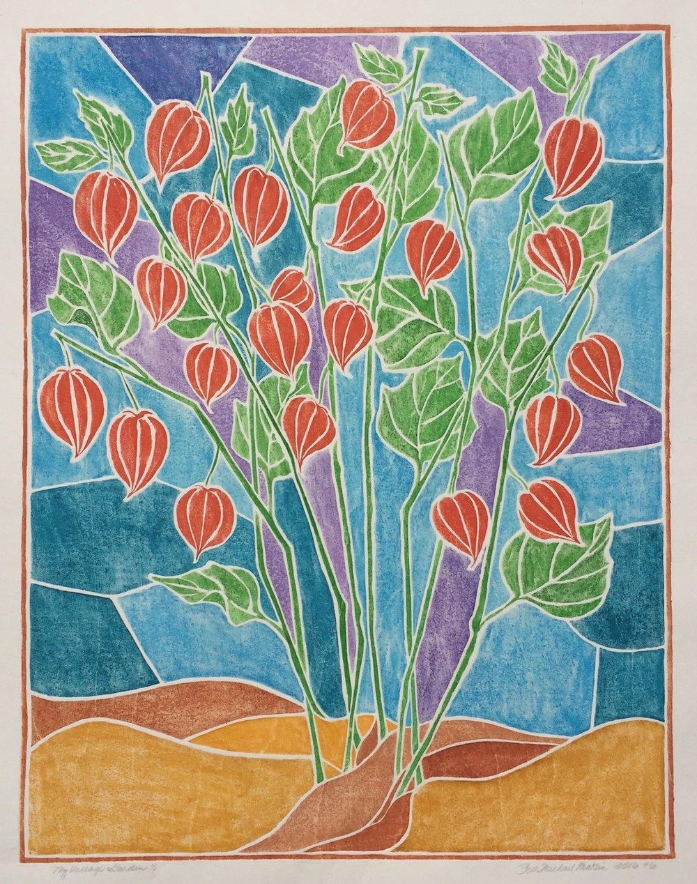 """""""My Village Garden"""" White-Line Woodcut"""