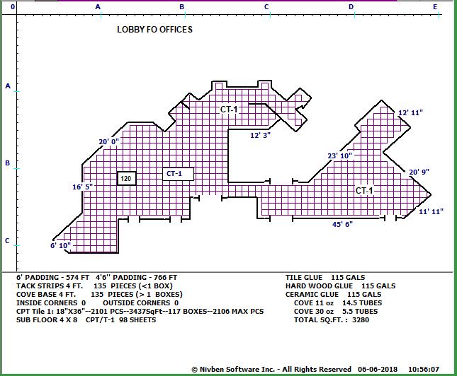 Carpet Tile trace of large commercial building