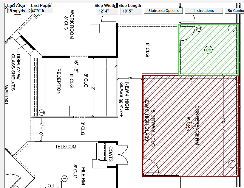 PDF Trace of two rooms in commercial building floorplan