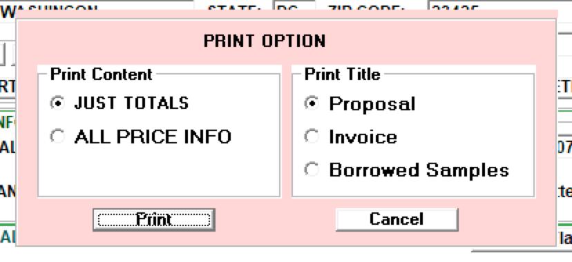 Customize print options