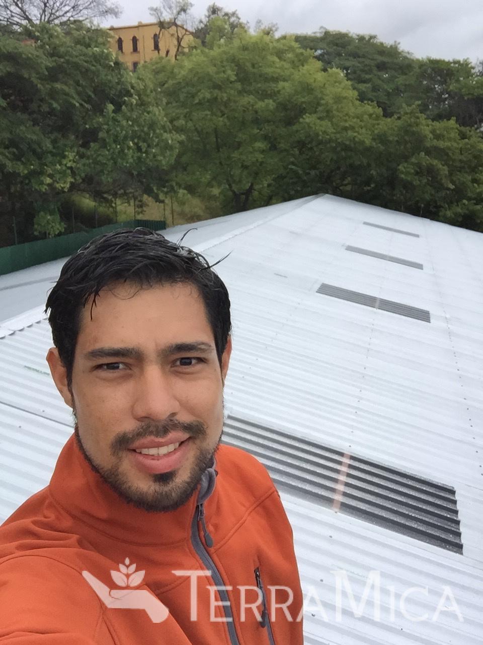 Jorge Sosa on the new gym roof at Penzotti Institute, Honduras.