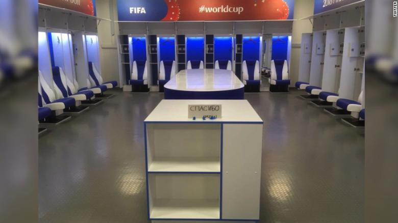 Japan's locker room following the loss that knocked them out of the World Cup (Courtesy of CNN)