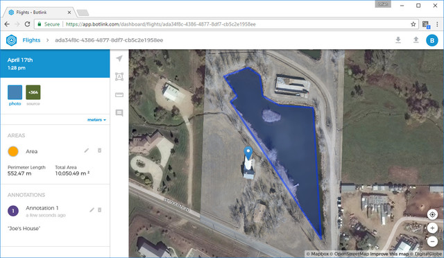The Botlink web app makes it easy for users to take length and area measurements and annotate projects.
