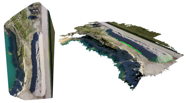 Drone software combines aerial imagery with positional data from the autopilot to triangulate data points for 3D mapping and volumetric measurements.
