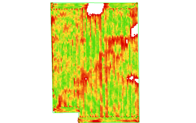 Yield map matches closely with NDVI map captured 3 months prior.