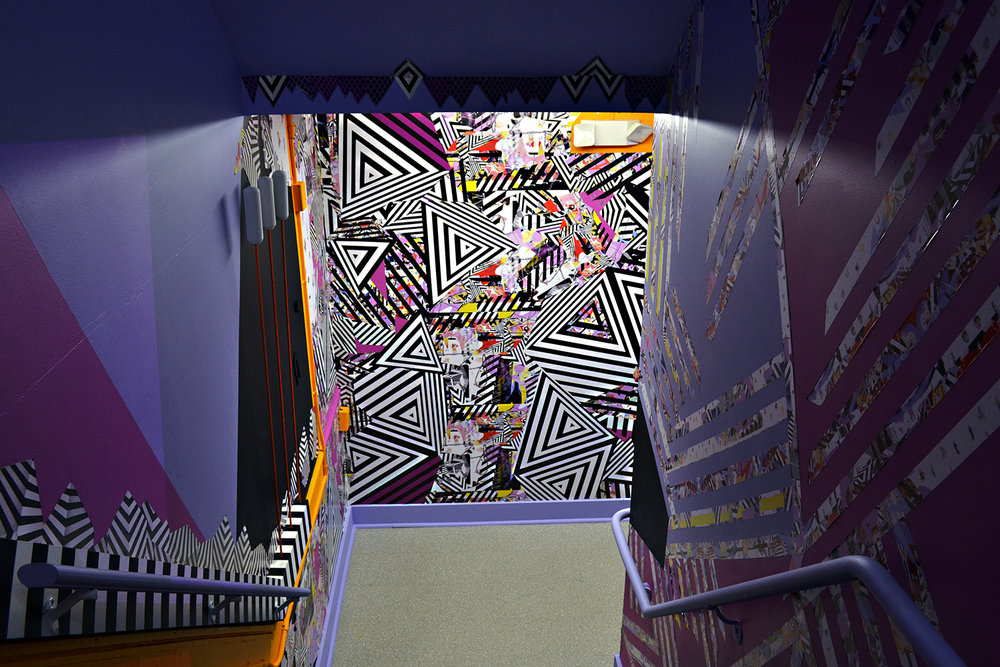 2015, Pattern Perception, is a mixed-media installation conceived, in collaboration, by Kyle Bauer, Amy Boone McCreesh and Katie Duffy. This project is an immersive site-specific installation that re-imagines the new Clement Street side main entrance of School 33 Art Center In Baltimore, MD. Printed vinyl, painted walls, projections and decorative 3-D elements create a dizzying visual experience.  Co-Lab(oration) is supported by the Robert Rauschenberg Foundation's Artistic Innovation and Collaboration Program, which supports fearless and innovative collaborations in the spirit of Robert Rauschenberg.