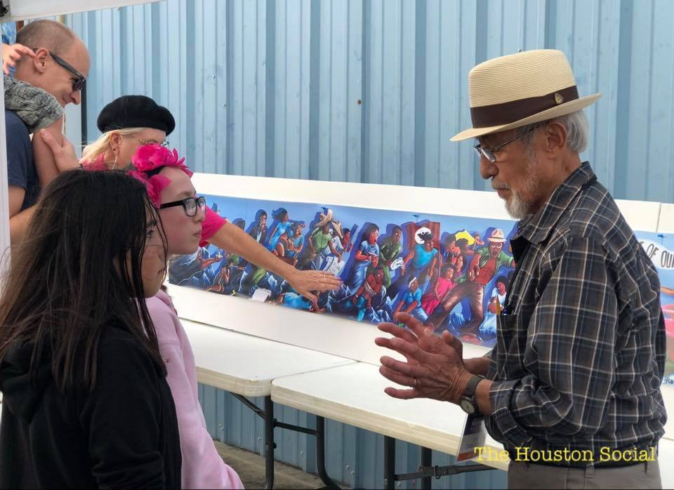 "Artist Leo Tanguma explains the story of his mural ""The Rebirth of Our Nationality"" // Photo: The Houston Social"