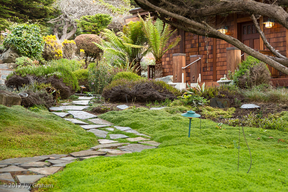 The stone path up to the Serenity Cottage with trimmed landscaping