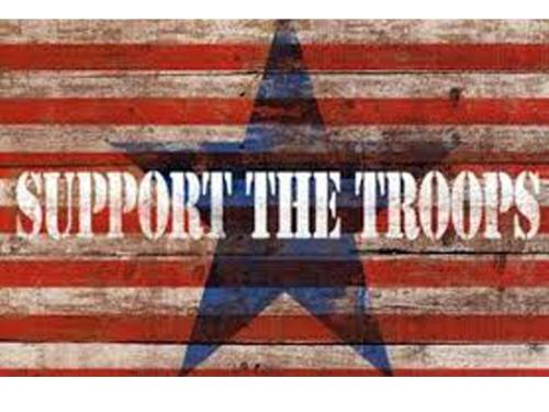 Support the Troops on a rustic wood painted with red stripes and blue star