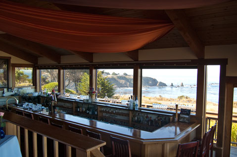 The bar at the Ledford House, restaurant on the Mendocino Coast.