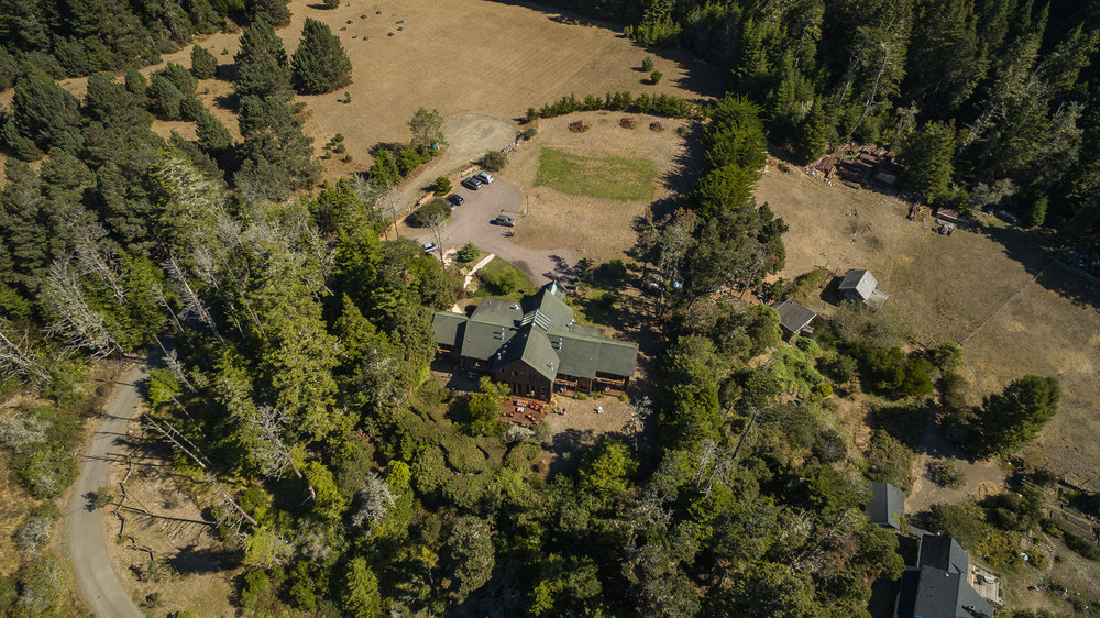 an aerial view of Brewery Gulch Inn south of Mendocino, California