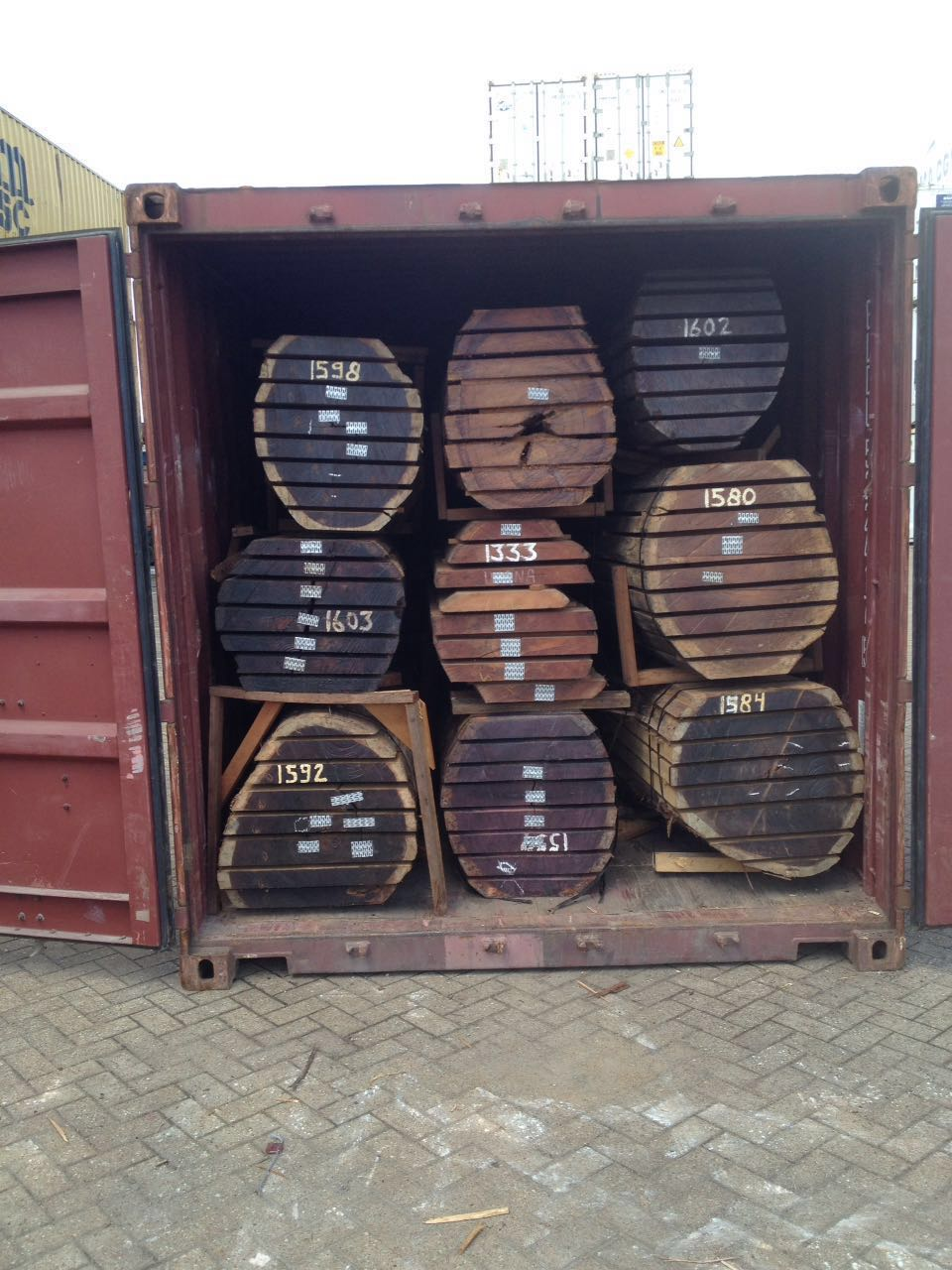 Container of Sawn Logs