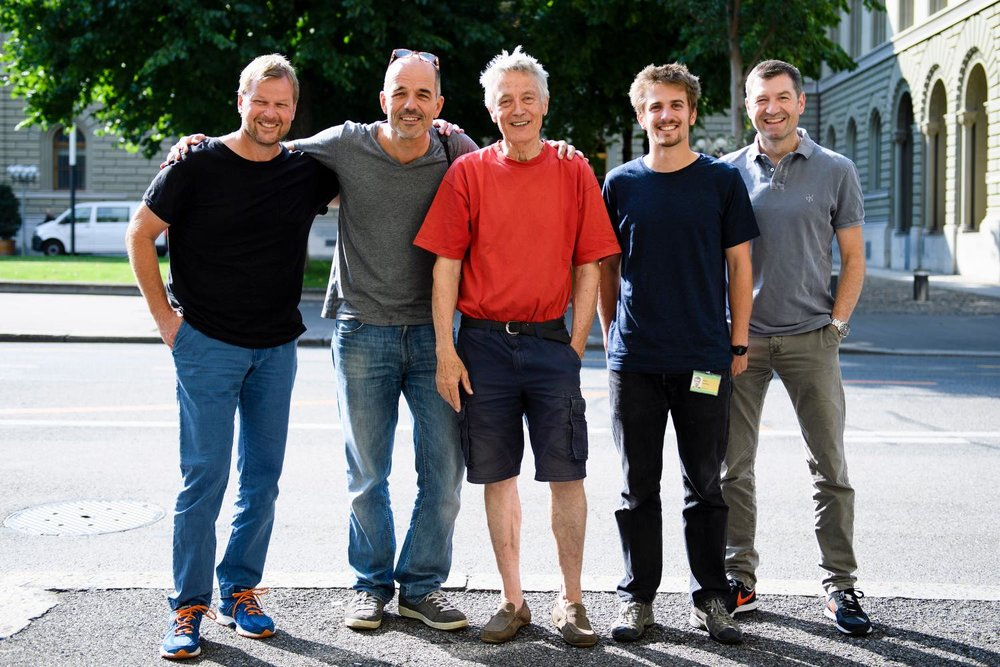 Team Keystone Bern with Peter Schneider, Alessandro Della Valle, Lukas Lehmann, Anthony Anex, and Peter Klaunzer, from left, this September 1, 2016, in Bern, Switzerland. (© Manuel Lopez)
