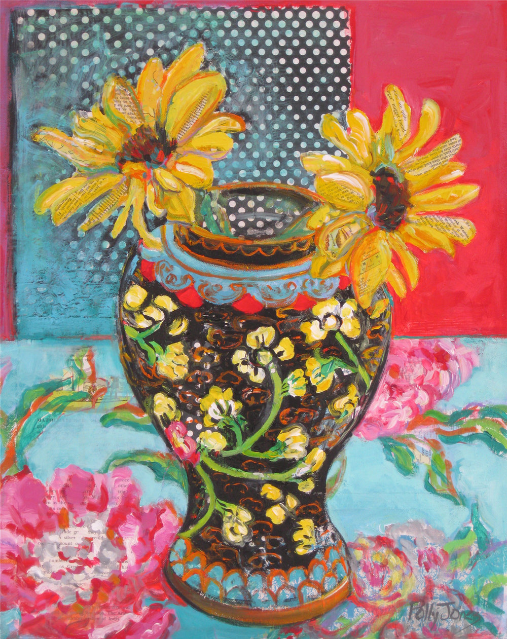 SUNFLOWERS WITH GINGER JAR