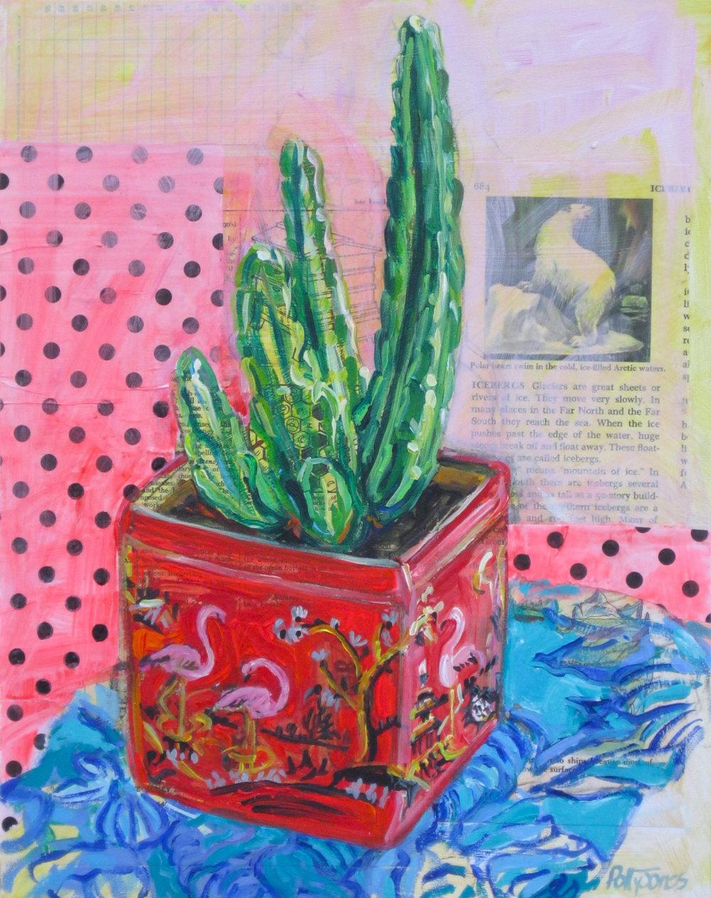 Cactus in a Flamingo Tin