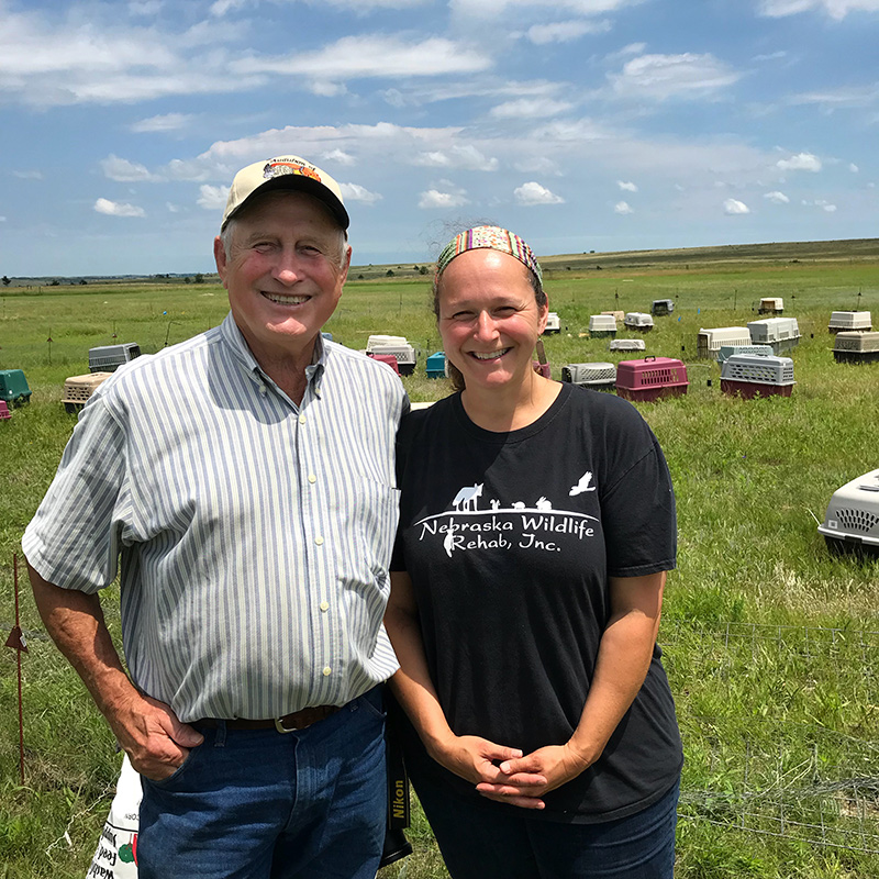 Ron Klataske, Executive Director of AOK, and Laura Stastny, Executive Director of Nebraska Wildlife Rehab, Inc. celebrating the relocation of prairie dogs at the Niobrara Sanctuary. Photo by Ryan Klataske