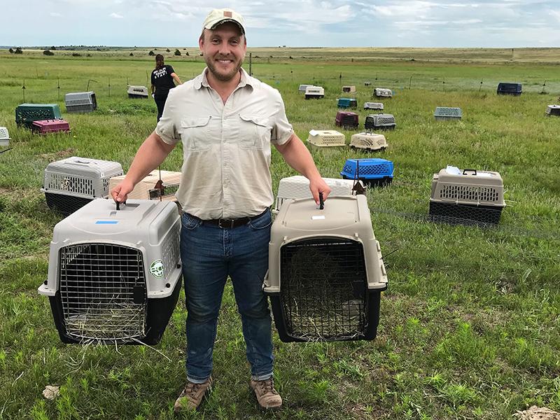 Ryan Klataske, along with Ron Klataske and both staff and volunteers from Nebraska Wildlife Rehab, Inc., helped release prairie dogs on the Niobrara Sanctuary. Photo by Ron Klataske