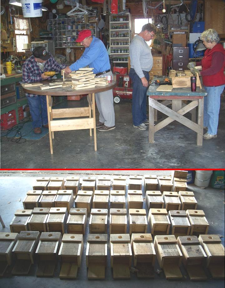 Sperry-Galligar Audubon Society in Pittsburg, Kansas, demonstrates how to build a nest box for bluebirds. Lots of nest boxes were created during this workshop!