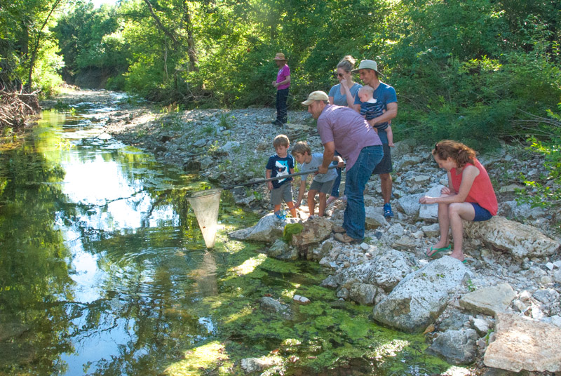 Two families enjoying a stream in the Flint Hills