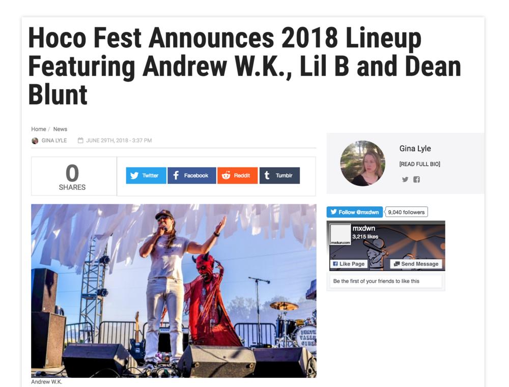 mxdwn.com - HOCO Fest Announces 2018 Lineup