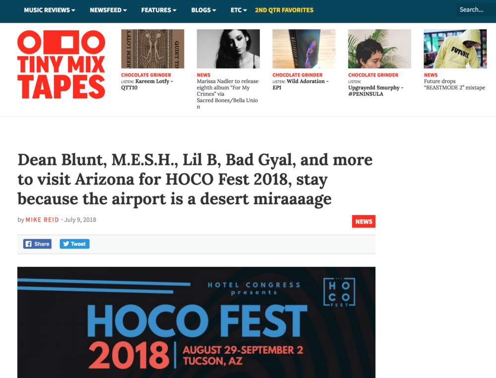 Tiny Mix Tapes - Dean Blunt, M.E.S.H., Lil B, Bad Gyal, and more to visit Arizona for HOCO Fest 2018, stay because the airport is a desert miraaaage