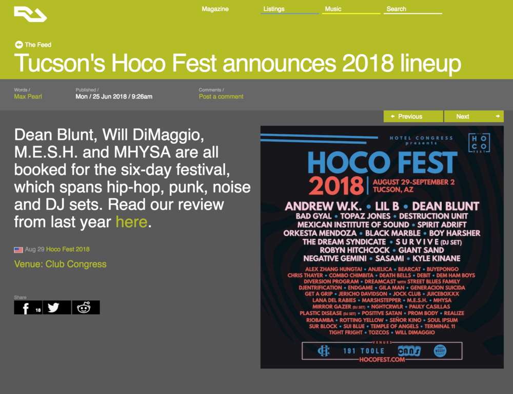 Resident Advisor - Tucson's HOCO Fest announces 2018 lineup