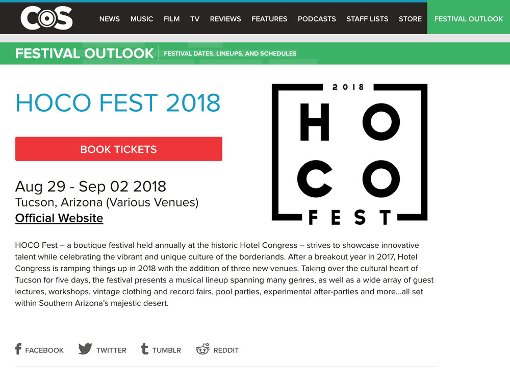 Consequence of Sound - Festivals: HOCO Fest 2018