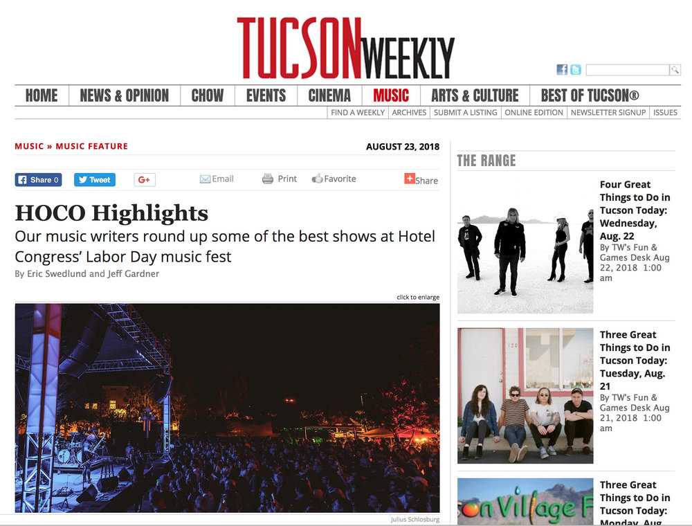 Tucson Weekly - HOCO Highlights | Our music writers round up some of the best shows at Hotel Congress' Labor Day music fest