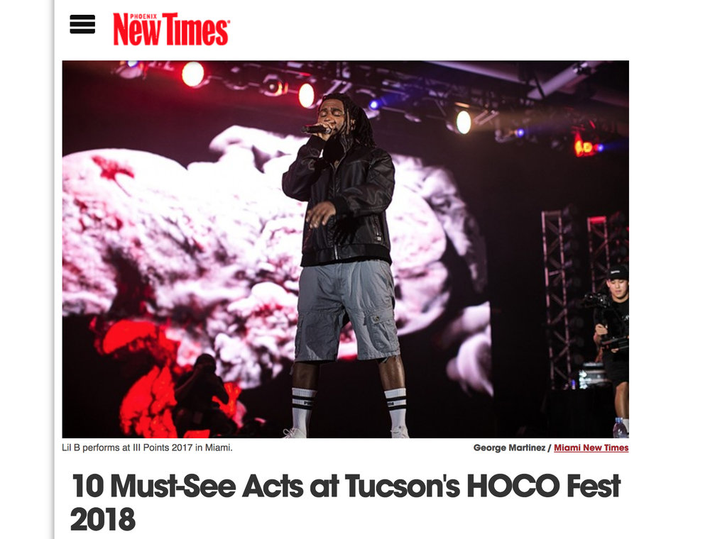 Phoenix New Times - 10 Must-See Acts at Tucson's HOCO Fest 2018