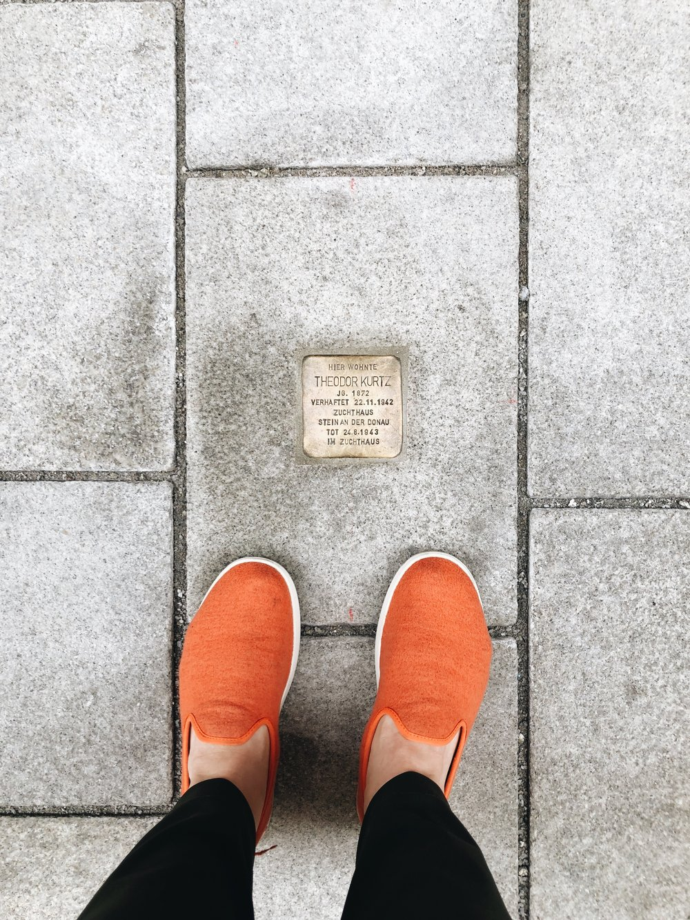 "stumbling stones - When we arrived in Salzburg on our first day, and went on an orientation tour of town with our tour manager, Gretchen, she began pointing out these bronze ""stumbling stones"" that are set into the streets.These stones are markers to honor those people who were taken and murdered during the Holocaust. And we saw them all over town - one after another after another… It was a really powerful experience."