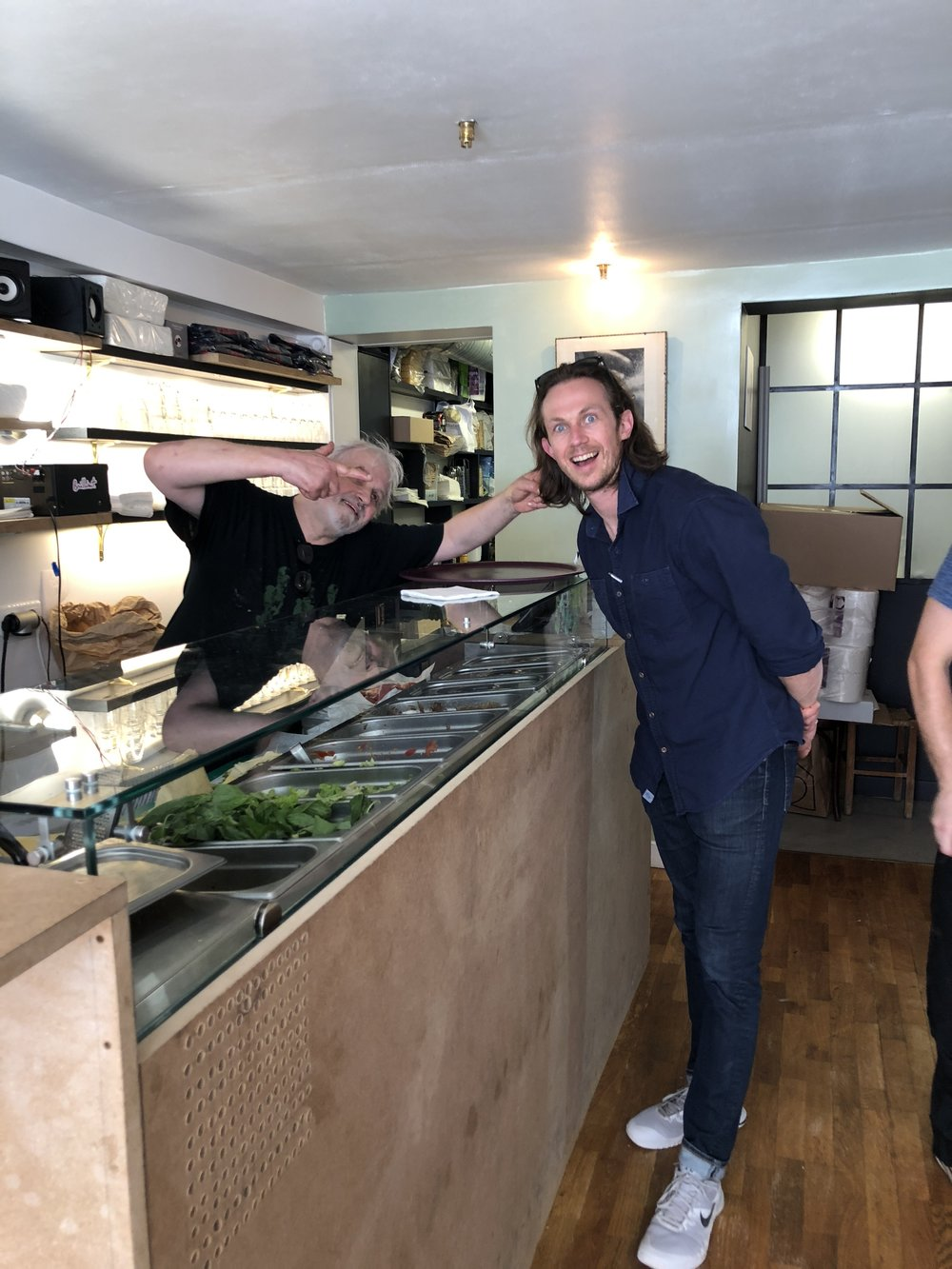 Spencer and Chef Alain at his new brick-and-mortar sandwich shop in the Marais neighborhood of Paris.