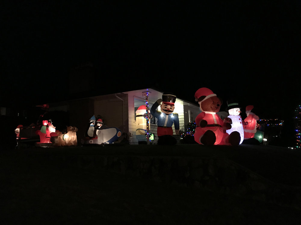 Christmas inflatables outside a neighbours house, 2017