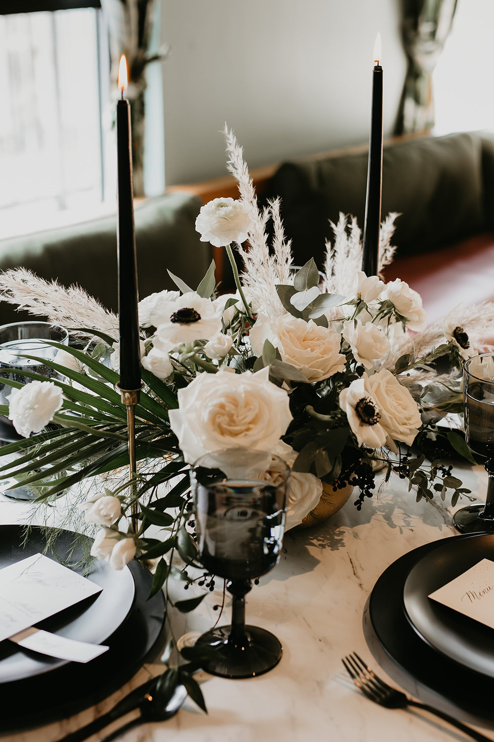 calgary wedding table setting table scape florals candles