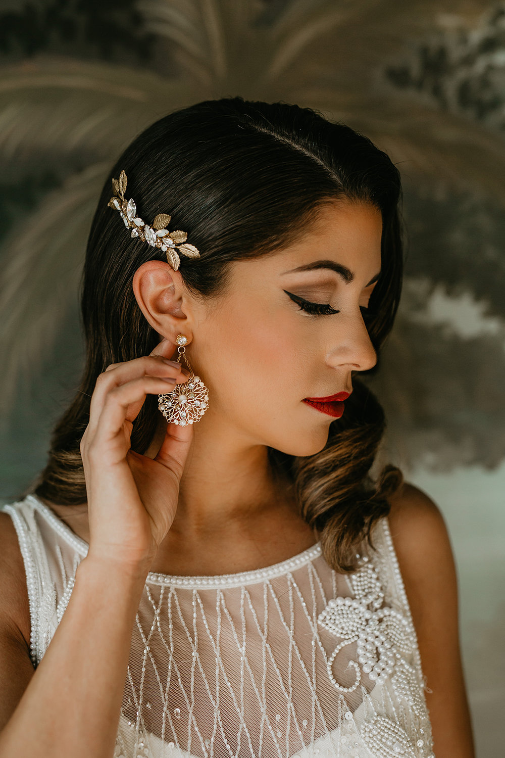Calgary bride hair style jewelry gown