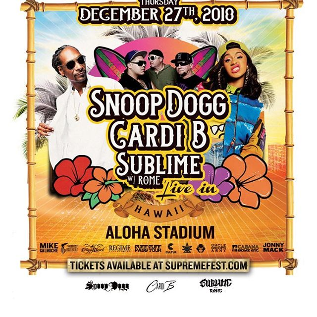 ❗️🤪Get your tickets🎫🎤 now before it sells out...✌🏿more days until showtime ✨ you don't wanna miss this @iamcardib @snoopdogg @sublimewithrome @mimimusichawaii 👸🏽🌺 #TeAmMiMi #MiMiGoCrAzY #CnOtEgAnG #LiGhTwEiGhT