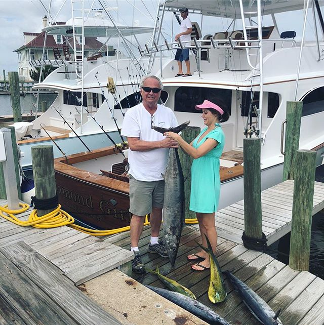 Clyde's buddy Ralph King and his girlfriend Tonya had a great day on the water this week! Congrats to them, for catching a 44lb citation wahoo on the Diamond Girl!!! Come join us and catch your own!  #charterfishing #thediamondgirl