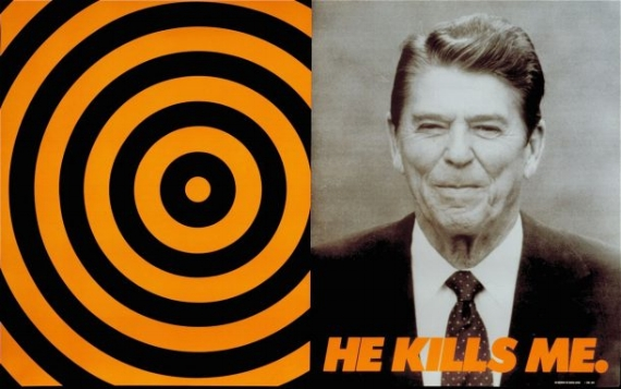 Donald Moffett, He Kills Me, 1987. Poster, offset lithography (Courtesy of the artist and Marianne Boesky Gallery, New York, Aspen. © Donald Moffett)