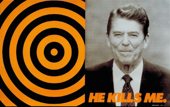 Donald Moffett, He Kills Me, 1987, poster, offset lithography. ©Donald Moffett. Courtesy the artist and Marianne Boesky Gallery, New York, Aspen