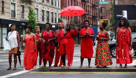 Black Women Artists for Black Lives Matter participants arriving at the New Museum, on the Lower East Side of Manhattan, for Thursday night's program. Credit: Richard Perry/The New York Times