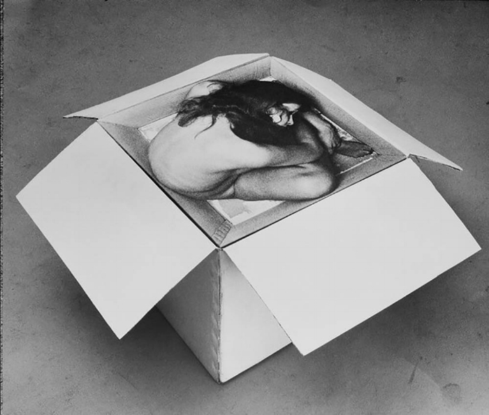 Kirsten Justesen.  Sculpture #2 , 1968, painted cardboard box and photograph. Courtesy of the artist.