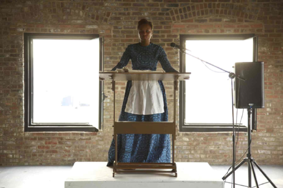 Marisa Williamson, Still from Performance: Auction (2013), Pioneer Works, Brooklyn, NY