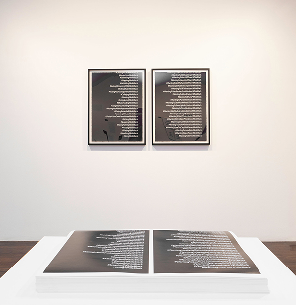 "Dread Scott's ""#While Black (offset),"" from 2019, offset lithographs; and ""#While Black,"" from 2018, diptych in screenprint. Credit Dread Scott; Julia Gillard."