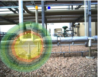 Acoustic Camera shows the pipe support radiating more noise than the piping and valve