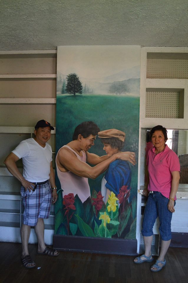 Painting of my wife Pealuan and I at my first home in Rockford