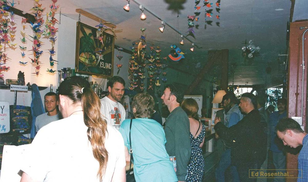 Patients at the medicine counter of The Cannabis Buyers Club founded by; Dennis Peron, Mary Jane Rathbun, AKA 'Brownie Mary', Dale Geiringer, with Beth Moore, John Entwhistle, Jason Patrick Menard, Gerry Leatherman, Richard Eastman and Dr. Tod H Mikuriva, San Francisco, California, 1994.