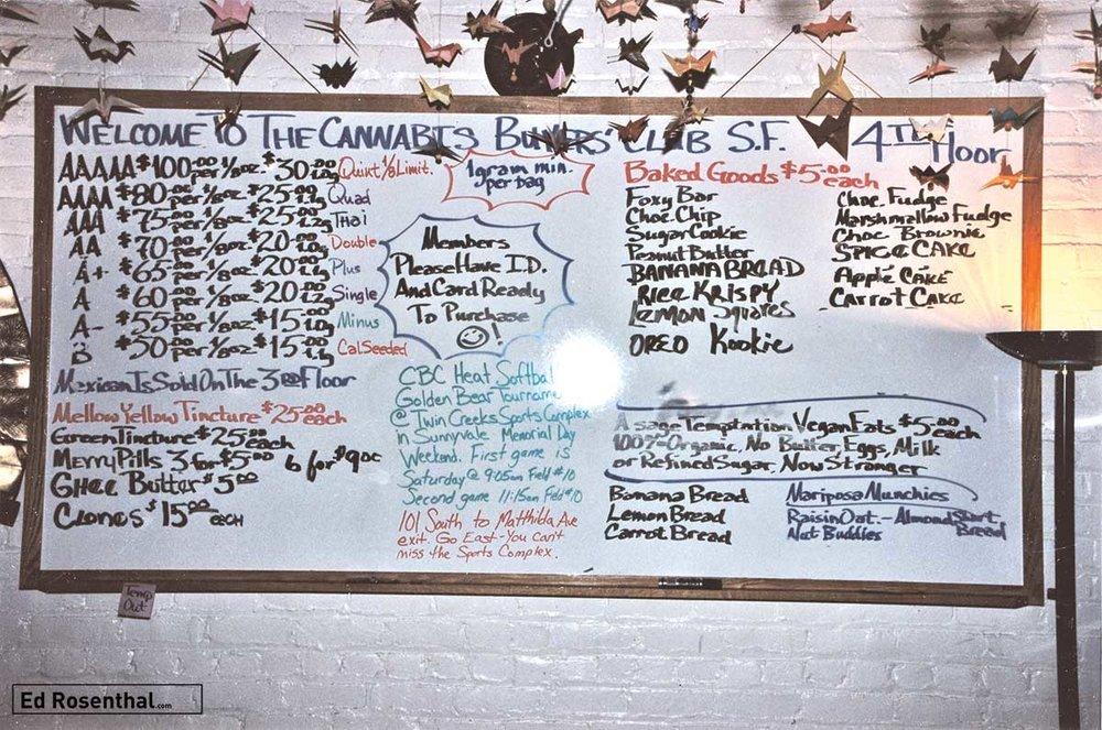 The Cannabis Buyers Club, medicine menu, San Francisco, California, 1994.