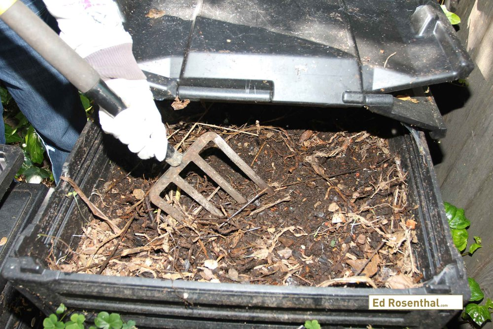Food waste, garden clippings, and small quantities of used planting mix are the ingredients placed in the compost bin. The bin, which is about a cubic yard, takes about a year to fill, and then it ripens for another year.