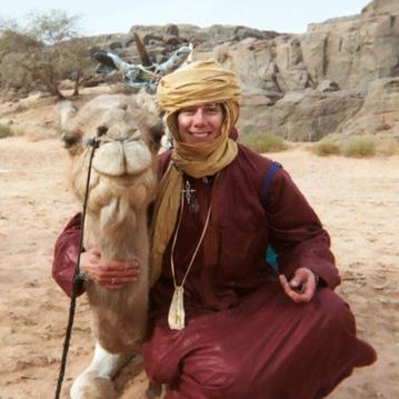 With my riding camel, Anarani, in the Sahara Desert