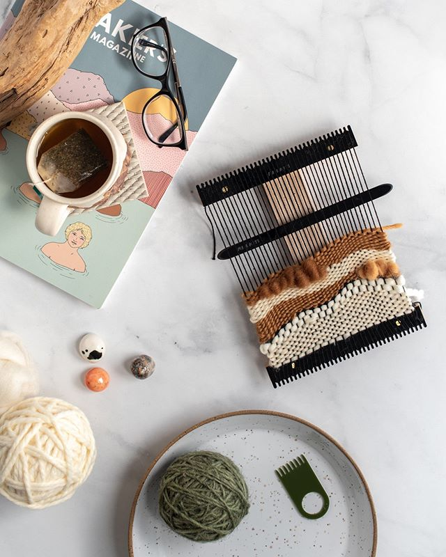 Modern - cute - and lovely to hold, our #tapestryweaving kits are made for modern makers. And hold the press -- they're now on Amazon! 🙆 🕺To celebrate, we have them listed on sale for a special price of $55 (normally $69). Link in bio to get one for yourself in your choice of peachy pink, black or translucent green!