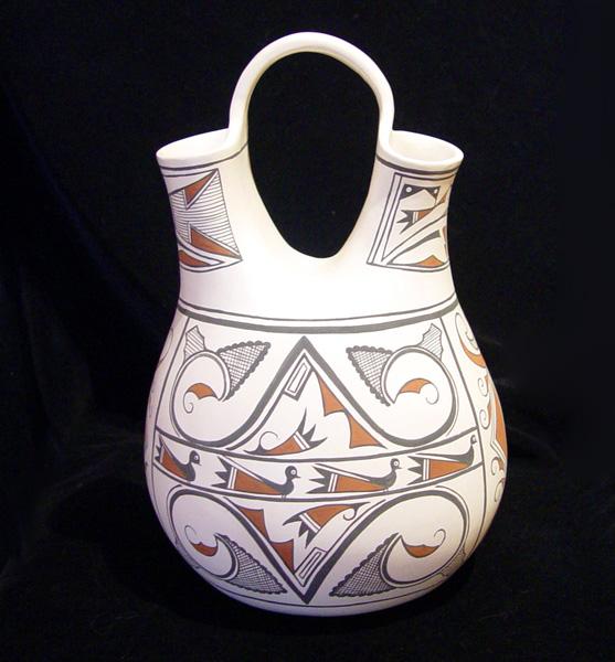 """Zuni Wedding Pot by Tony Lorenzo, clay pottery, 13"""" x 8"""" x 8"""""""